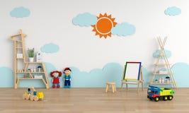 Intérieur de chambre d'enfant pour la maquette, rendu 3D illustration libre de droits