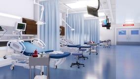 Intérieur de chambre de secours avec les lits d'hôpital vides banque de vidéos