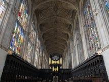 Intérieur de chapelle d'université du ` s de roi photographie stock