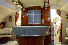 Intérieur de classe d'affaires d'avions d'Airbus A380 d'émirats Photographie stock libre de droits
