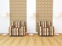 Intérieur de conception de salle de séjour moderne d'élégance illustration stock