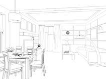 Intérieur de conception moderne de salle de séjour 3d rendent Photos libres de droits