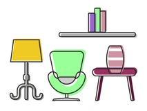 Intérieur de couleur avec des meubles Images libres de droits