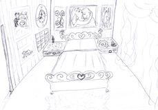 Intérieur de croquis de chambre à coucher Photo stock