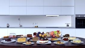 Intérieur de cuisine avec une table pleine de la nourriture illustration stock