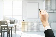 Intérieur de cuisine de dessin de main Photographie stock libre de droits