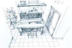 Intérieur de dessin de main Images stock