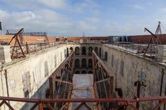 Intérieur de Fort Boyard dans les Frances, Charente-maritime, France images libres de droits