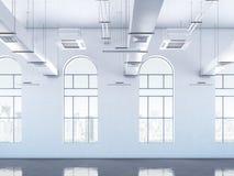 Intérieur de grenier avec des fenêtres rendu 3d Photos stock