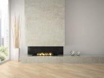 Intérieur de grenier de conception moderne avec la cheminée 3D rendant 2 Photos libres de droits