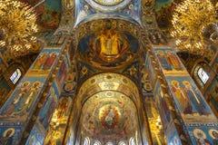 Intérieur de l'église du sauveur sur le sang renversé à St Petersburg Photo libre de droits