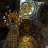 Intérieur de l'église du sauveur sur le sang renversé, animal familier de saint Image libre de droits