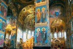 Intérieur de l'église du sauveur sur le sang renversé, St Petersburg Photographie stock libre de droits