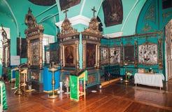 Intérieur de l'église du visage saint dans le village Mlevo  Image libre de droits