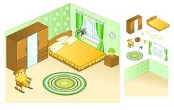 Intérieur de l'appartement bedroom Lit avec des oreillers par la fenêtre Table de chevet avec les lampes de nuit et la chaise de  illustration de vecteur