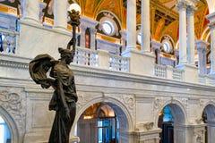 Intérieur de la Bibliothèque du Congrès à Washington D C Images libres de droits