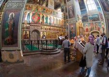 Intérieur de la cathédrale d'hypothèse dans le monastère d'Iversky Photos stock