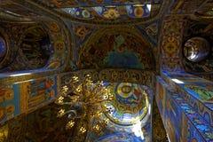 Intérieur de la cathédrale de la résurrection du Christ dans le St Petersbourg, Russie Église du sauveur sur le sang Image libre de droits