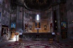 Intérieur de la cathédrale de la mère sainte de Dieu dans le monastère de Harichavank dans la province de Shirak, Arménie images libres de droits