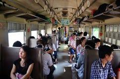 Intérieur de la classe 3 de train de la Thaïlande Images libres de droits