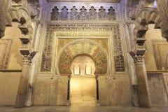 Intérieur de la Mosquée-cathédrale de Cordoue, Espagne photos stock
