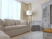 Intérieur de la Provence avec le sofa et une grande fenêtre Photographie stock libre de droits