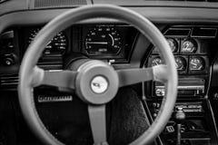 Intérieur de la voiture de sport Chevrolet Corvette C3, 1982 Photographie stock libre de droits