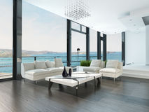 Intérieur de luxe de salon avec la vue blanche de divan et de paysage marin Images libres de droits