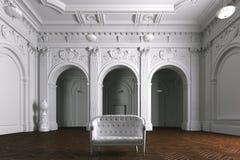 Intérieur de luxe de villa de manoir avec des colonnes Sofa de cuir blanc illustration libre de droits