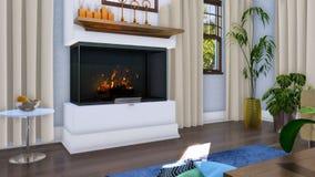 Intérieur de luxe moderne de salon avec la cheminée de mur illustration stock