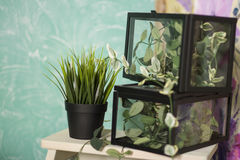 Intérieur de maison de campagne de vintage avec une table avec un vase et des flovers Photos stock