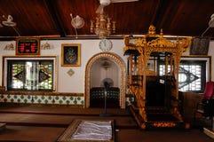 Intérieur de Masjid Tengkera (mosquée de Tranquerah) au Malacca Photo libre de droits