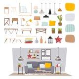 Intérieur de meubles et illustration plate réglée de vecteur de décor d'icône à la maison de concept Photos stock
