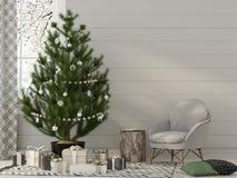 Intérieur de Noël dans des tons beiges illustration de vecteur