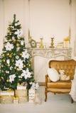 Intérieur de Noël dans la couleur 4 d'or Photo libre de droits