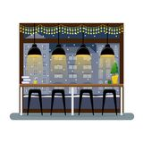 Intérieur de Noël dans le café Compteur de barre à la fenêtre panoramique dans le café Le vol de l'oiseau - 1 illustration libre de droits