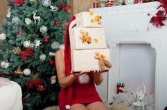 Intérieur de Noël La fille tient des boîtes Photos libres de droits