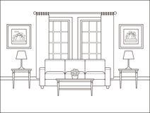 Intérieur de pièce avec la fenêtre dans la conception plate Illustr de vecteur d'ensemble illustration stock