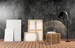 Intérieur de pièce avec la toile sur le mur noir de ciment Photographie stock