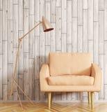 Intérieur de pièce avec le rendu de fauteuil et de lampadaire 3d Images stock