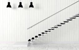 Intérieur de pièce blanche avec des lampes d'escalier et de plafond dans le style moderne et minimal Photographie stock