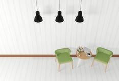 Intérieur de pièce blanche avec les meubles modernes, vue supérieure Photographie stock