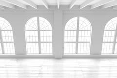 Intérieur de pièce blanche, maquette de l'espace ouvert Image libre de droits