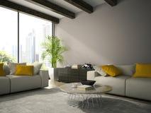 Intérieur de pièce de conception moderne avec le rendu blanc du divan 3D Photographie stock libre de droits