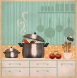 Intérieur de pièce de cuisine Rétro carte sur le vieux papier Images stock