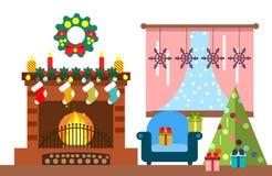 Intérieur de pièce de Noël Arbre et décoration de Noël Cadeaux et cheminée Illustration plate de style Photos libres de droits