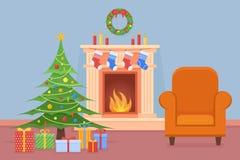 Intérieur de pièce de Noël avec la cheminée, l'arbre, les cadeaux et le fauteuil illustration libre de droits
