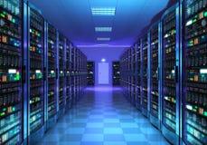 Intérieur de pièce de serveur dans le datacenter photos libres de droits