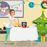 Intérieur de pièce de Noël Arbre, cadeau et décoration de Noël Image stock
