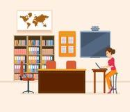 Intérieur de pièce pour le professeur Travailleur d'école, professeur de classe workplace illustration stock